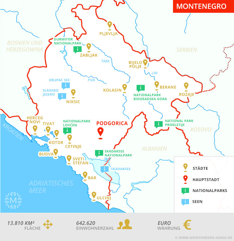 montenegro karte Karte von Montenegro